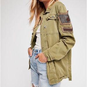 Free People Embellished Military Jacket Medium EUC